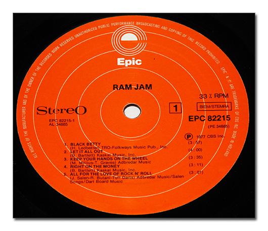 ram jam vinyl